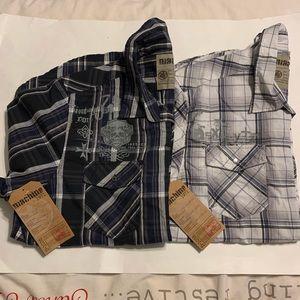 2 NWT Machine short sleeve button up plaid shirts